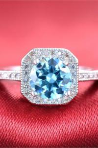 Nowy pierścionek srebrny kolor jasnoniebieska cyrkonia lodowa retro pin up królowa