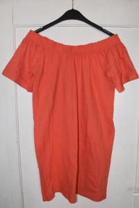 Piękna bawełniana letnia morelowa sukienka typu hiszpanka rozmi...