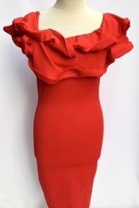 Sukienka NOWA Czerwona Hiszpanka S 36 Falbanka