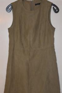 Piękna elegancka wizytowa zamszowa sukienka khaki rozmiar L Atm...