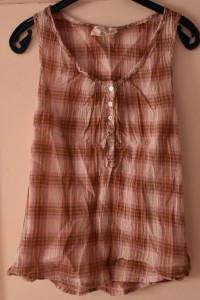 Koszula bez rękawów różowa żółta zielona kratka guziczki H&M ro...