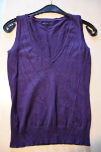 Fioletowa śliwkowa kamizelka sweterek z dekoltem V idealna na z...