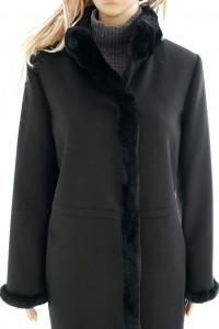 Luisa Spagnoli nowy oryg płaszcz wełniany z futrem