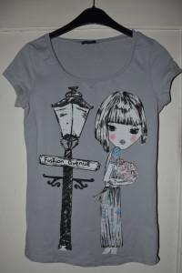 Szara bawełniana koszulka nadruk dziewczynka kwiaty lampa fashi...