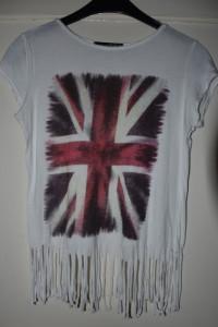 Biała koszulka z krótkim rękawem nadruk flaga Wielkiej Brytanii...