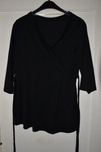 Czarna bluzka z 3 4 rękawem wiązana z tyłu dekolt przekładany w...