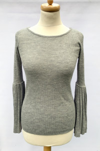 Sweter Szary Rozszerzane Rękwy Lindex M 38 Wełna Bluzka