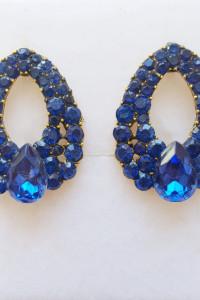 Nowe kolczyki niebieskie kryształki kryształy cyrkonie eleganckie