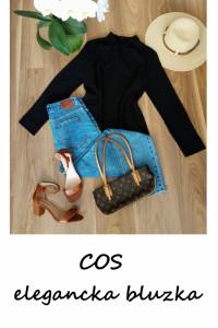 Elegancka czarna bluzka z węzłem COS basic minimalizm XS