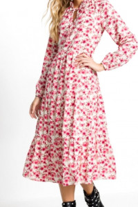 Kolorowa sukienka w kwiaty midi falbany 44 lub 46
