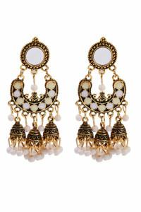 Nowe kolczyki indyjskie jhumka boho hippie etno złoty kolor biały dzwonki bohemian