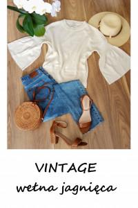 Vintage wełniany kremowy sweterek House of Dagmar wełna jagnięc...