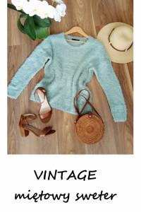 Vintage włochaty zimowy sweter oversize...