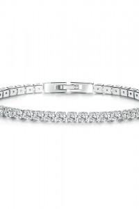 Nowa bransoletka białe cyrkonie oczka prosta srebrny kolor elegancka