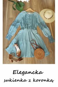 Niebieska morska sukienka z koronką elegancka koktajlowa 48 50 ...