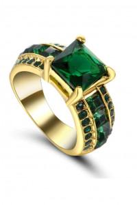 Nowy pierścionek sygnet złoty kolor zielone cyrkonie kamienie duży