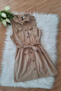 Beżowa sukienka H&M camel wiązana...