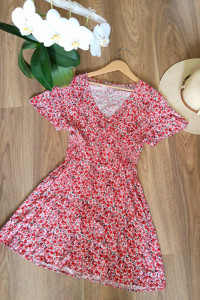 Letnia sukienka w kwiaty vintage wiskoza...