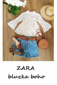 Biała bawełniana bluzka ZARA XS boho koronka