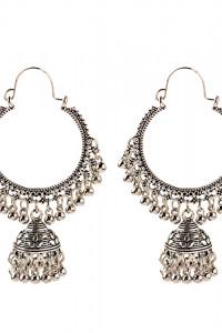 Nowe kolczyki indyjskie srebrny kolor boho hippie jhumka dzwonk...