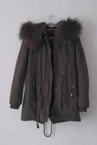 Zielona khaki ciepła kurtka parka z kapturem 40...