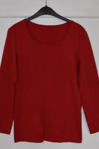 Czerwona bluzka z 3 4 rękawem bez szwów po bokach rozmiar M