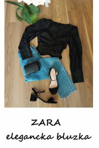 Elegancka czarna bluzka z marszczeniem M L szerokie bufiaste rękawy