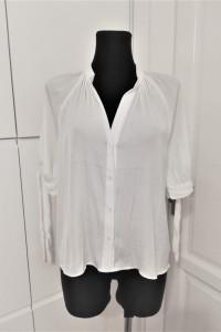 Biała koszula z wiązanymi rękawami H&M...