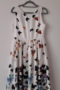 Biała rozkloszowana sukienka midi w motyle 38 40...
