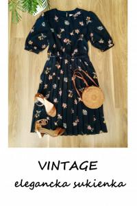 Elegancka plisowana sukienka vintage XL XXL granatowa w kwiaty ...
