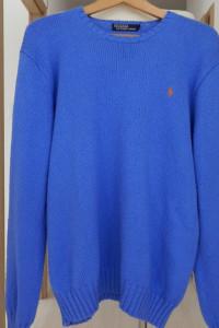 Sweter Ralph Lauren Kultowa Amerykańska Marka Niebieski Męski L
