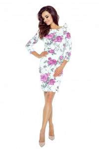 Wzorzysta sukienka ołówkowa z odkrytymi ramionami i wiązanymi r...