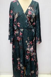 Sukienka Gina Tricot XL 42 Butelkowa Zieleń Kwiaty Dłuższy Tył