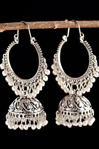 Nowe indyjskie kolczyki jhumka srebrny kolor etno boho tribal k...