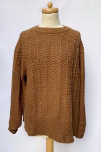 Sweter Brązowy H&M Jodełka Brąz Wełniany Wełna M 38