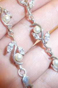bransoletka srebrna perły i cyrkonie