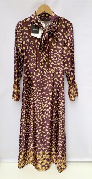 Suknie i sukienki Sukienka Maxi NOWA Siste s S 36 Długa Brązowa Groszki Kropki