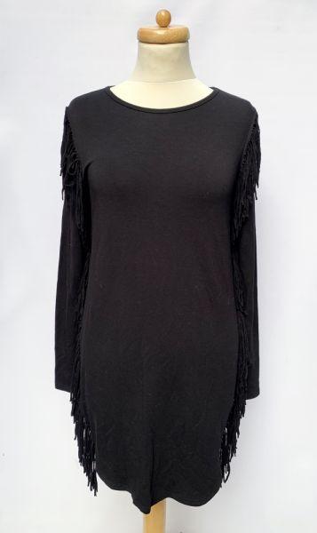 Suknie i sukienki Sukienka Czarna Frędzle Bik Bok S 36 Frędzlelki Prosta