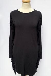 Sukienka Czarna Frędzle Bik Bok S 36 Frędzlelki Prosta