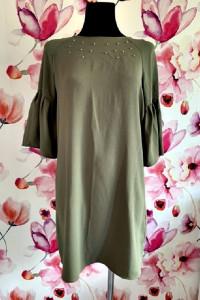 primark sukienka luźny fason khaki perełki nowa casual 38