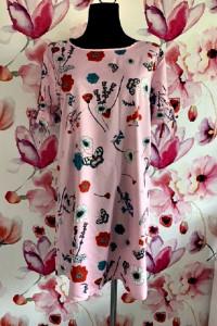 exquiss s sukienka modny wzór kwiaty motyle paski nowa 36