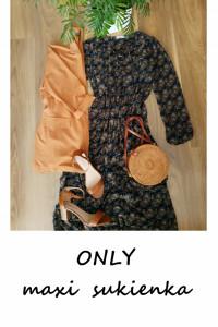 Długa jesienna maxi sukienka we wzory XS S...