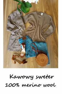 Wełniany kawowy sweter merino wool vintage S M
