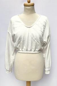 Bluza Biała Krótka Bershka S 36 Biel Top Dresowa