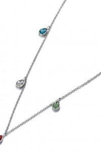 Nowy naszyjnik łańcuszek celebrytka srebrny kolor stal szlechetna kolorowe łezki