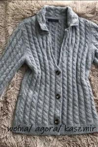 sweter rozm M warkocz piękny splot premium wełna kaszmir...