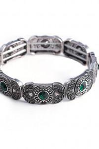 Nowa bransoletka srebrny kolor zielone kamienie oczka tybetańska indyjska etno boho hippie
