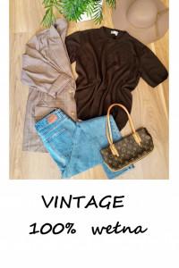Vintage dzianinowa wełniana bluzka oversize