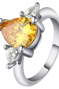 Nowy pierścionek srebrny kolor żółty kamień cyrkonia oczko łezka