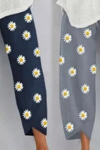 Luźne bawełniane spodnie w kwiatki L XL...